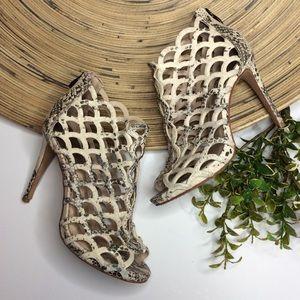 Vince Camuto Fontanela snakeskin cage heels